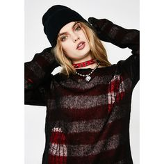 Tripp NYC Reverse Stripe Sweater ($80) ❤ liked on Polyvore featuring tops, sweaters, vintage striped sweater, punk sweater, chunky striped sweater, sport sweaters and vintage tops