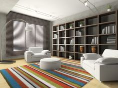 Living Room : Amazing Living Room Window Blind Ideas With Brown Faux Wood Horizontal Blinds Also Colorful Shag Area Rug And Grey Nickel Arc Floor Lamp Besides Stunning Living Room Windows Living Room Window Valance Ideas. Living Room Bay Window Blinds. Living Room Window Coverings.