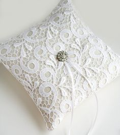 Lace Ring Pillow White Ring Bearer Pillow Toulon by laurastark, $145.00