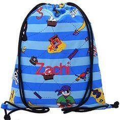 e25a4816fc Personalised Swimming Bag Drawstring Backpack PE Bag Gym Bag - Blue Pirate