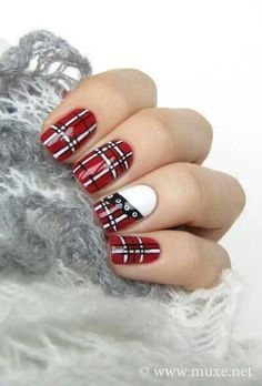 50 Red Nail Art Designs and ideas to express your attitude : 50 Red Nail Art Designs and ideas to express your attitude Plaid Nail Designs, Plaid Nail Art, Red Nail Art, Plaid Nails, Nail Polish Designs, Cute Nail Designs, Cool Nail Art, Nails Design, Nails Opi