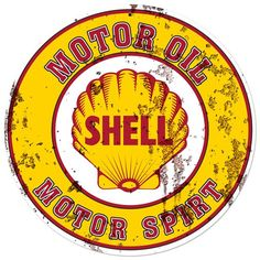 Shell Motor Oil Advertising Sign 28 x 28 Grunge Vintage Replica USA Made Steel Vintage Style Retro Gas Oil Garage Art Wall Decor  SHL147 by HomeDecorGarageArt on Etsy