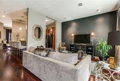Art Deco Living Room with Carpet, High ceiling, flush light, Hardwood floors, VINA GREY SQUARE OGEE