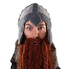 8774d9386cb Barbarian Warrior Beard Head knit hat with beard! Looks like something from  Lord of the