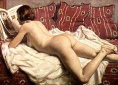 – Rene Francois Xavier Prinet – Nude on a Pink Divan Jean Antoine Watteau, Francois Xavier, Pink Blanket, Impressionist Artists, Digital Museum, Woman Reading, Reading Art, Collaborative Art, Pin Up Art