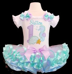 Under the Sea Birthday Tutu Outfit,  Pastel Colors 2pieces Top amd Tutu Only  Ocean Themed