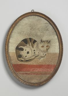 """Rare Georgian Crouching Cat Portrait   Embroided Needlework Within Original Oval Frame  English, c.1800  25.25"""" high x 19.50"""" wide Robert Young Antiques"""