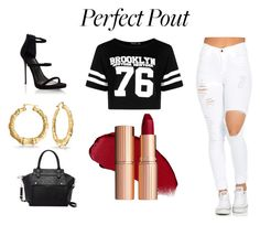"""Perfect Pout"" by elizabeth-kaltsas ❤ liked on Polyvore featuring Boohoo, Lipsy, Bling Jewelry and Pink Haley"