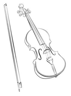 Violin and Bow coloring page from Musical instruments category. Select from 22454 printable crafts of cartoons, nature, animals, Bible and many more.
