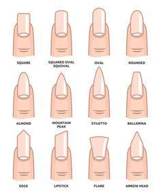 Types Of Nails Shapes, Different Nail Shapes, Stylish Nails, Trendy Nails, Cute Nails, Acrylic Nail Shapes, Best Acrylic Nails, Simple Acrylic Nails, Perfect Nails