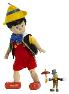 """Madame Alexander Dolls Pinocchio Wooden Sculpt and Jiminy Cricket , 8"""", Disney Favorites Doll Limited Edition - 500 Piece"""