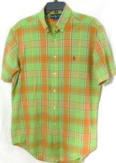Mens Ralph Lauren Classic Fit Button Front Plaid Shirt S/S SZ M Green Orange #RalphLauren #ButtonFront