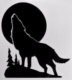 Wolf-Howling-Woon-Silhouette-Car-Truck-Window-Vinyl-Decal-Sticker-Choose-Color Wolf Stencil, Halloween Window Silhouettes, Wolf Silhouette, Pumpkin Art, Wild Wolf, Disney Sweatshirts, Stencil Patterns, Wolf Howling, Of Wallpaper