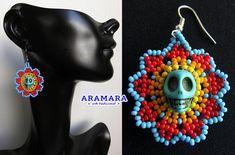 Huichol Skull Earrings 091 Mexican Jewelry Mexican earrings