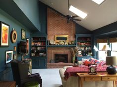 My Living Room: After. Benjamin Moore Newburg Green on walls and woodwork. Ben Moore Jute on ceiling and skylights. Dark Green Living Room, Green Rooms, Living Room On A Budget, Formal Living Rooms, Home Gym Design, House Design, Home Gym Decor, Small Entryways, House Color Schemes