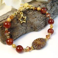 Lovely Carnelian Bracelet w/ Czech Glass Starburst Design Focal, Swarovski Copper Crystals, Mookaite Jasper, Star Charm, Earthy Jewelry by PrettyGonzo - Handmade