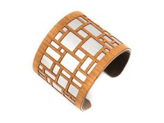 Cuff Bracelet from Joyo | Warm wood contrasts against softly glowing brushed aluminum. Very lightweight and can bend to fit most size wrists.