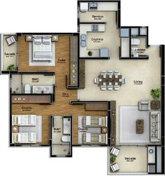 Floor Plan Friday: 4 bedroom home with study nook and tripl Sims House Plans, House Layout Plans, Dream House Plans, Small House Plans, Sims House Design, Bungalow House Design, Small House Design, Layouts Casa, House Layouts