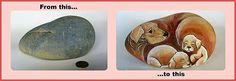 Painting Rock & Stone Animals, Nativity Sets & More: Before & After Painted Rocks and Stones: Furry Pets