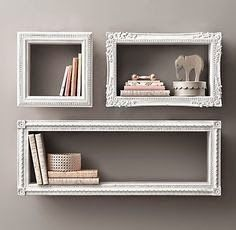 DIY SHELVES Find frames from a thrift store, attach wood to all sides, paint and hang on wall. New and creative shelves Diy Wall Art, Wall Decor, Room Decor, Nursery Decor, Project Nursery, Nursery Ideas, Diy Casa, Home And Deco, Display Shelves