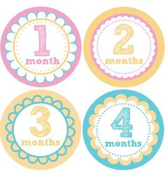Floral Baby Month Stickers