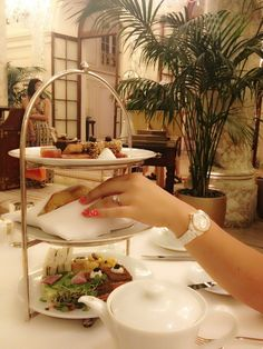 Afternoon tea at The Plaza hotel NYC pink polka dot nail design white ceramic watch great gatsby Fitzgerald tea sandwiches food desserts finger foods