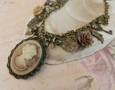 Cameo charm necklace, vintage style jewelry, chunky charm necklace, gift for her, Europe - pinned by pin4etsy.com