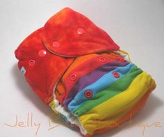 Rainbow Stripe One Size Fitted Diaper by Jellybearboutique on Etsy, $25.00