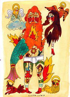 mermaid-&-sailor-II by Ricardo Cavolo Kunstjournal Inspiration, Art Journal Inspiration, Art And Illustration, Jr Art, Mermaid Art, Naive Art, Religious Art, Art World, Lovers Art