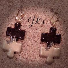 Handmade puzzle earrings