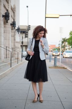 Tulle skirt | casual tulle skirt outfit | how to wear a tulle skirt | black tulle |striped blazer| leopard print pumps | feminine outfit | office style | work outfit | fashion | style | polished whimsy | pattern mixing and colorful style blog