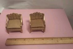 2 RARE Matching ORNATE Vintage Tootsietoy Metal Doll House Furniture CHAIRS in Dolls & Bears, Dollhouse Miniatures, Furniture & Room Items | eBay