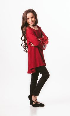 Thermal sweater with lace bell sleeves.