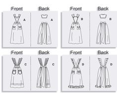 Back of Butterick 4042 Victorian Pinafore Apron SEWING PATTERN