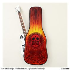 Fire Skull Rays -Sunburst Background Guitar Case  #guitar #electricguitar #guitarbag #musician #acoustic https://www.zazzle.com/collections/guitar_things-119620189429877320