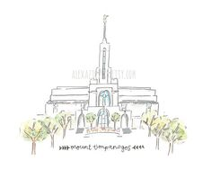 Mount Timpanogos LDS Temple - Watercolor Temple Print    Remeber to also check out: MormonFavorites.com