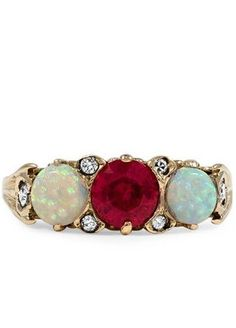 Rose Gold Opal & Ruby Ring