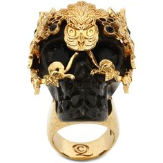 Alexander McQueen Skull Owlet Ring ($229) ❤ liked on Polyvore featuring  jewelry, rings