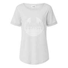 Cotton/Modal Holiday Tee. Comfortable fitting style features a scoop neck, rolled up short sleeves and dipped hem with centre front artwork. Available in Light Grey Marle as shown.