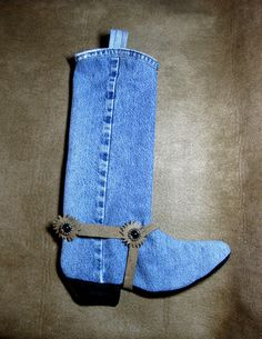 Country Cowboy Cowgirl Western Boot Christmas Stocking Denim Jeans Craft via Etsy