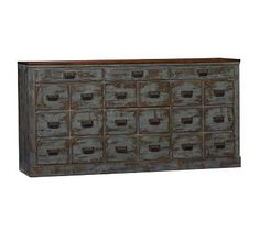 """Clerk's Console Table - Pottery Barn - there two outer set of """"drawers"""" are faux, and these are cabinet doors"""
