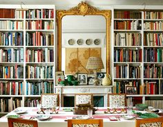 The dining room/library in Milieu. An incredible room. The books are all from NYC and are arranged by subject - Carolina Irving