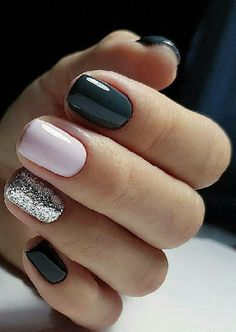 Sweet Winter Nail Design and Color Dark blue winter manicure with pale pink and silver glitter accent nailsDark blue winter manicure with pale pink and silver glitter accent nails Nails 2018, Prom Nails, My Nails, Hair And Nails, Casual Nails, Trendy Nails, Glitter Accent Nails, Silver Glitter, Dark Nails With Glitter