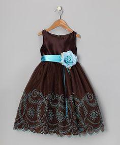 Love this Chocolate Embroidered Flower Dress - Toddler & Girls by Kid's Dream on #zulily! #zulilyfinds