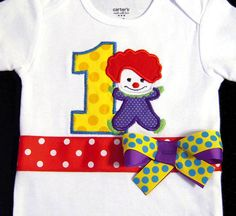 First Birthday Circus Clown Bodysuit Rainbow Toddler by Whimsy Tots Boutique, $34.50