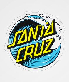 This sticker features a classic Santa Cruz Skateboards logo. The Wave Dot Decal is making it the perfect size to put on your belongings. Brand Stickers, Cute Stickers, Logo Stickers, Sticker Logo, Laptop Stickers, Vaporwave, Santa Cruz Stickers, Santa Cruz Logo, Fond Design