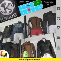 #MarcaDelDía: Kirius. Encuentra lo mejor en chaqueteria para dama y caballero, excelente calidad, fabricantes. Solo en el #GranSan, local :1243 -2028, tel: 3427439. cel: 3123499746. Te esperamos. #ColombianoCompraColombiano #SoyCapaz de creer en mi país!