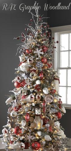 RAZ 2015 Graphic Woodland Christmas Tree visit http://www.trendytree.com for RAZ Christmas decorations