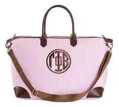 Gamma Phi Beta Seersucker Satchel. www.sassysorority.com #seersucker #sororitymerchandise #preppy #sassysorority #love #gammaphi #monogram #summer #gogreek #sororitygift #satchel