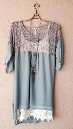 Anthropolgie Hazel perriwinkle romantic silk French beaded gatsby tunic